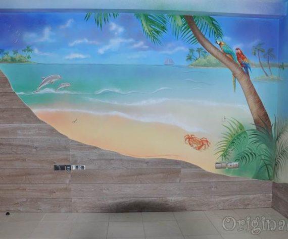 1402421656camera-bucuresti-pictura-murala-peisaj-exotic